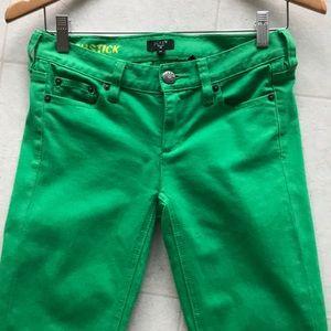 J. Crew Factory Matchstick Jeans Denim Green